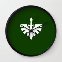 warhammer Wall Clocks featuring Warhammer 40k Dark Angels Minimalist Print by Milos Cakovan