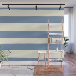 Dusk Sky Blue 27-23 Hand Drawn Fat Horizontal Lines on Dover White 33-6 Wall Mural