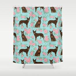Kelpie florals dog breed cute gifts pattern dog lover pet portraits pet friendly designs Shower Curtain