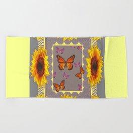 Southwestern Style Sunflowers Butterflies  Grey Ranch Design Beach Towel