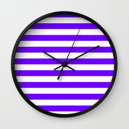 Narrow Horizontal Stripes - White and Indigo Violet Wall Clock