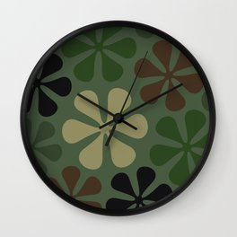Abstract Flower Camouflage Wall Clock