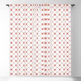 Pantone Living Coral Thin Line Stripe Grid (Pinstripe) and Polka Dots on White Blackout Curtain
