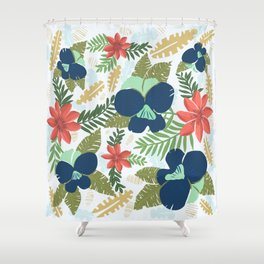 Hawaiian Flowers Pattern Shower Curtain