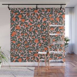 Oranges and Leaves Pattern - Pink Wall Mural