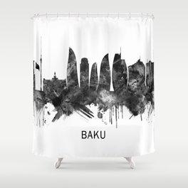 Baku Azerbaijan Skyline BW Shower Curtain