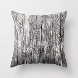 Birch Trees in Black and White Throw Pillow
