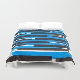 Cerulean Blue Primitive Stripes Mid Century Modern Minimalist Watercolor Gouache Painting Colorful S Duvet Cover