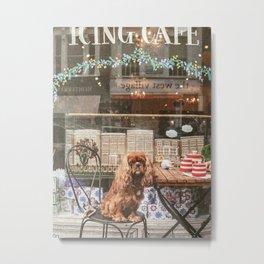 King Charles Spaniel at the Cafe Metal Print