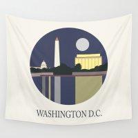 washington Wall Tapestries featuring Washington D.C by uzualsunday