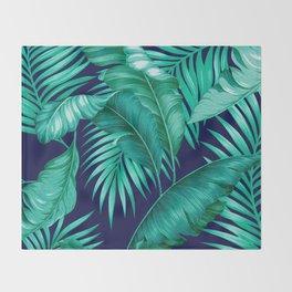 HAWAIIAN GARDEN TROPICAL LEAVES   turquoise navy Throw Blanket