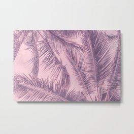 Tropical Palm Leaves Pink Summer Vibe Metal Print