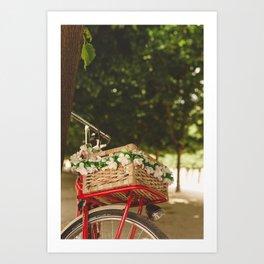 Spring red bike Art Print