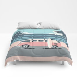 Surfer Graphic Beach Palm-Tree Camper-Van Art Comforters