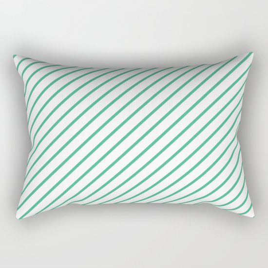 Diagonal Lines (Mint/White) Rectangular Pillow