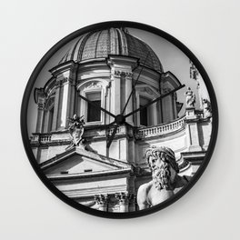 Piazza Navona, the ancient Stadium of Domitian, in Rome, Italy Wall Clock