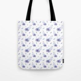 Lilac purple teal watercolor elegant  leaves daisies Tote Bag