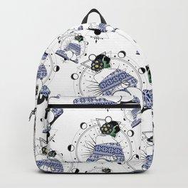 Winter space flower in blue Backpack