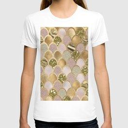 Rose gold glittering mermaid scales T-shirt