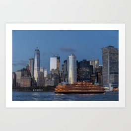 NYC and Staten Island Ferry Art Print