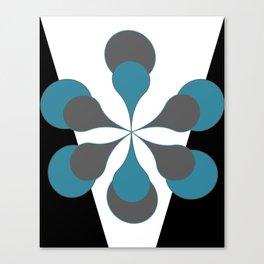 Mid-Century Modern Art 1.4B Grey Aqua Flower Canvas Print