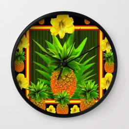 HAWAIIAN TROPICAL FLORAL-PINEAPPLES BLACK ART Wall Clock