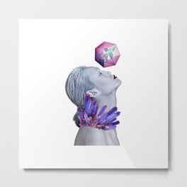 Woman Crystals Surreal Collage Metal Print