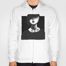 Contemporary Black and White Collar  Hoody
