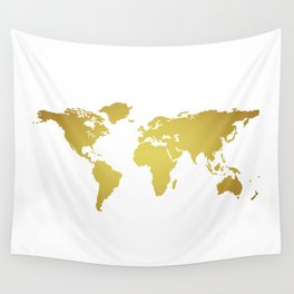 Gold Foil World Map on White Background Wall Tapestry
