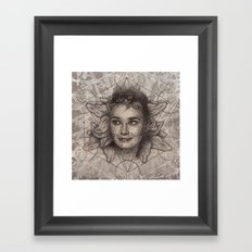 Audrey Hepburn dot work portrait Framed Art Print