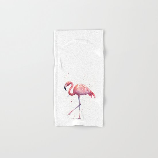 Flamingo Watercolor Pink Bird Hand & Bath Towel