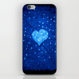 Winter Blue Crystallized Abstract Heart iPhone Skin