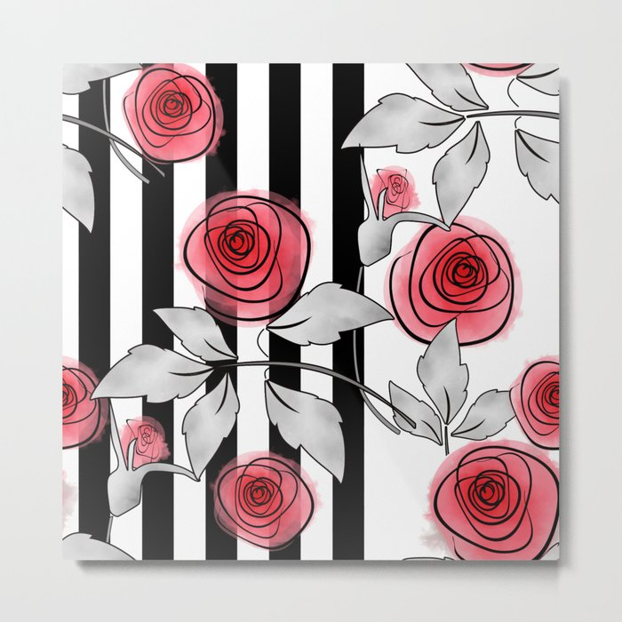 Red Roses On Black And White Striped Background Metal Print By