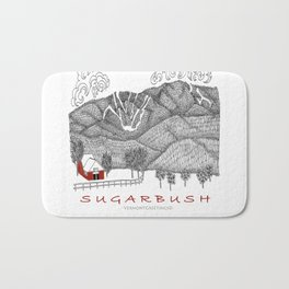 Sugarbush Vermont Serious Fun for Skiers- Zentangle Illustration Bath Mat