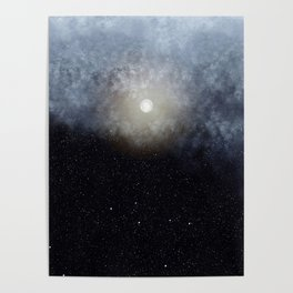 Glowing Moon in the night sky Poster