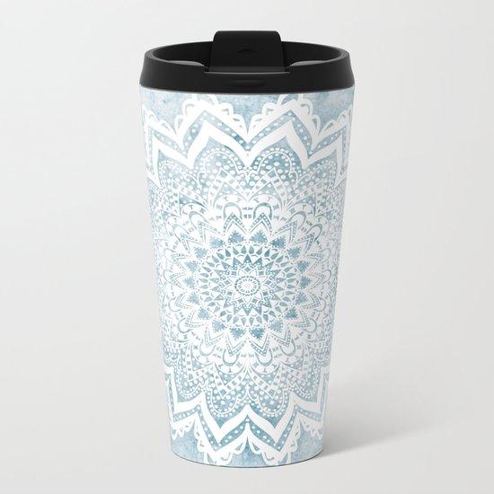 LIGHT BLUE MANDALA SAVANAH Metal Travel Mug