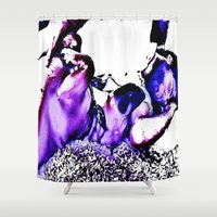 cuddle Shower Curtains featuring Cuddle Monster by Fknjedi1