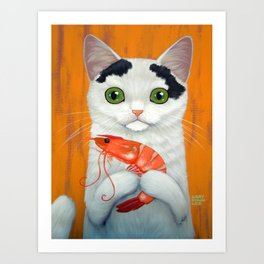 CAT AND BIG SHRIMP Art Print