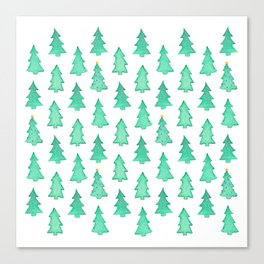Christmas Trees With One Decorated Tree Canvas Print