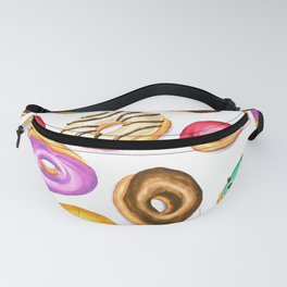 Colorful donut party pattern in watercolor Fanny Pack