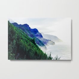 green mountain with ocean view at Kauai, Hawaii, USA Metal Print