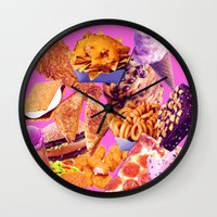 junk food Wall Clocks featuring Junk  by ♡♡Transparent Mess♡♡