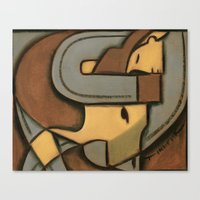 wrestling Canvas Prints featuring Steer Wrestling by Tommervikpaintings