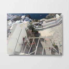 Santorini Balcony Metal Print