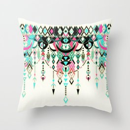 Modern Deco in Pink and Turquoise Throw Pillow