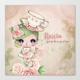 Rosita - The rose cup of tea Canvas Print