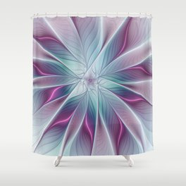 Floral and Luminous, abstract Fractal Art Shower Curtain