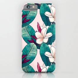 Trendy Tropical Plumeria Flowers Green Foliage Design iPhone Case