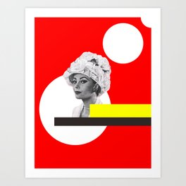 white circle, yellow and red woman Art Print