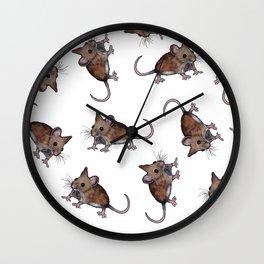 Cute Brown Field Mice, Mouse, Oil Pastel Art, Pattern Wall Clock